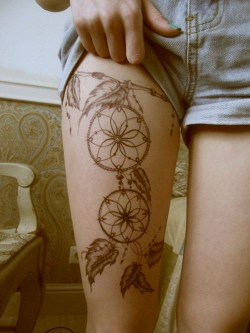 On the outside of the thigh instead or hanging from the ribcage and coming down on to my hip