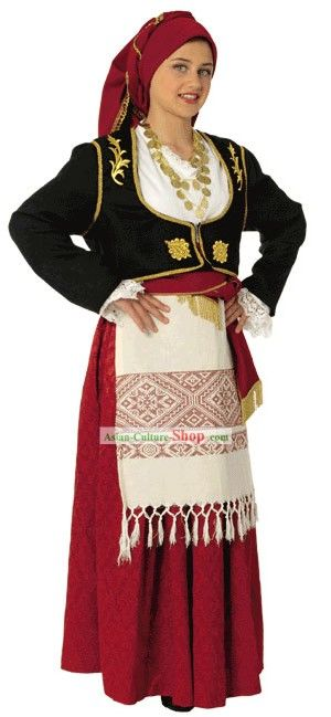 Traditional festive costume from Crete.  Style: early 20th century.  This is a workshop-made ensemble, as worn by folk dance groups.