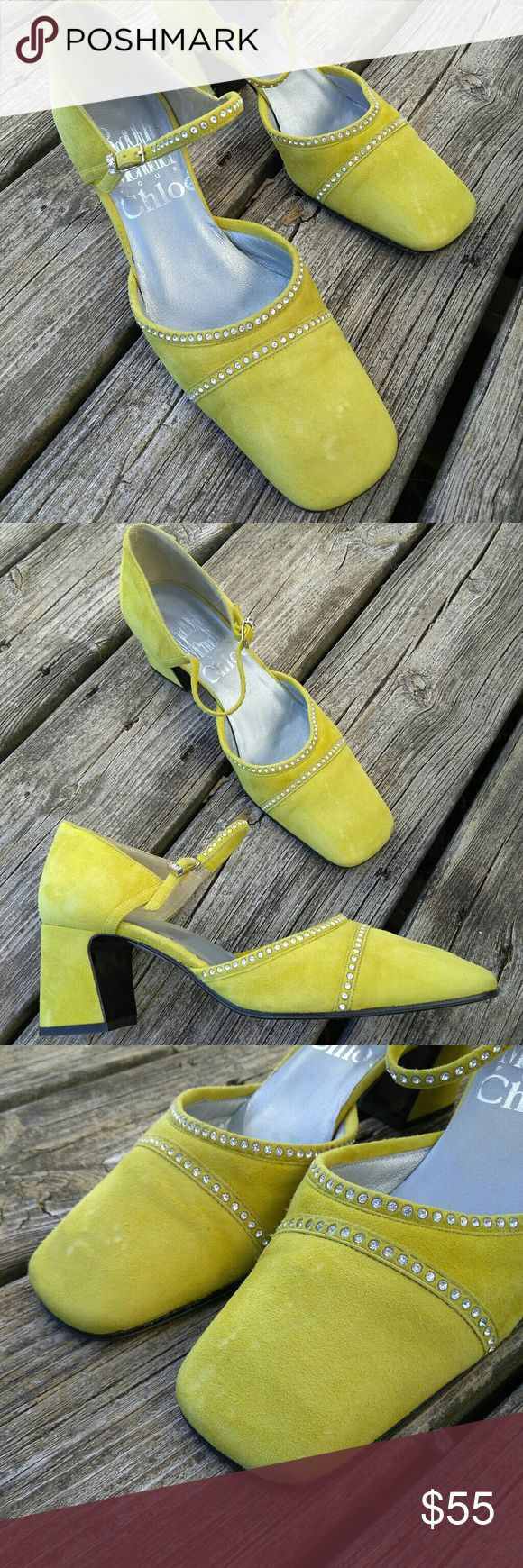 Chloe 35 EU Yellow Suede rhinestone Evening Shoes Very good to excellent condition! Clean toes with one smudge at toe edge as shown and a couple of v tiny marks near heels. Soles look v good. Chloe Shoes Platforms