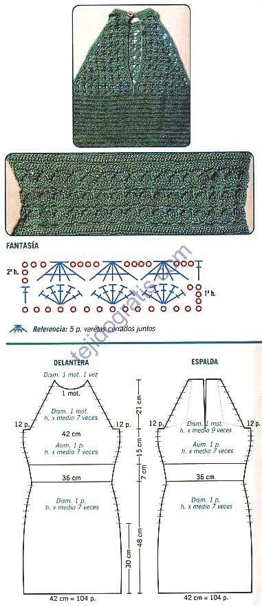 Patrones de Tejido Gratis - Vestido verde - vestido 14 esquema - green sleeveless crochet halter dress FREE knitting pattern in Spanish