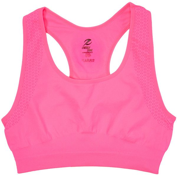 Super-Fit Knitting Knockout Pink Wireless Racerback Sports Bra ($6.99) ❤ liked on Polyvore featuring plus size women's fashion, plus size clothing, plus size activewear, plus size sports bras, plus size, racer back sports bra, pink sportswear, racerback sports bra and plus size sportswear