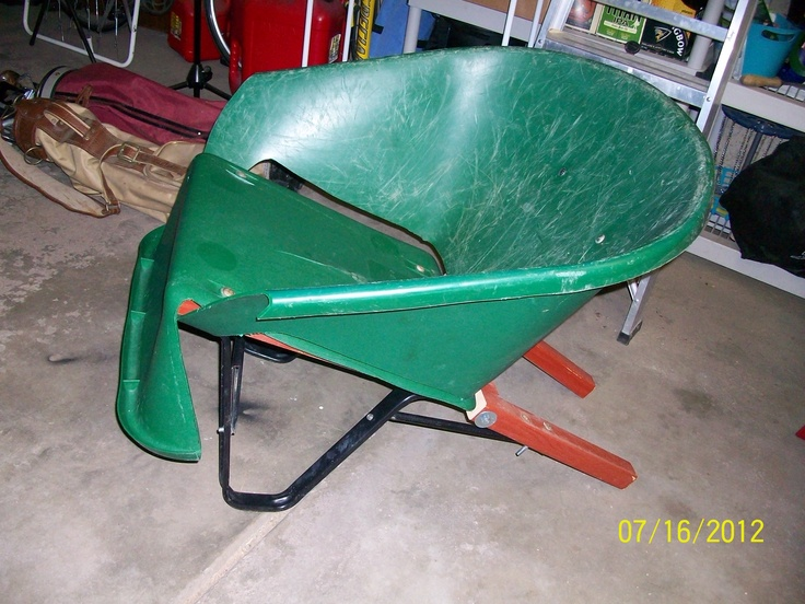 I chopped up an old wheel barrow and made an adirondack style chair out of it.  Really comfortable, and besides 2 bolts it only used pieces from the original.