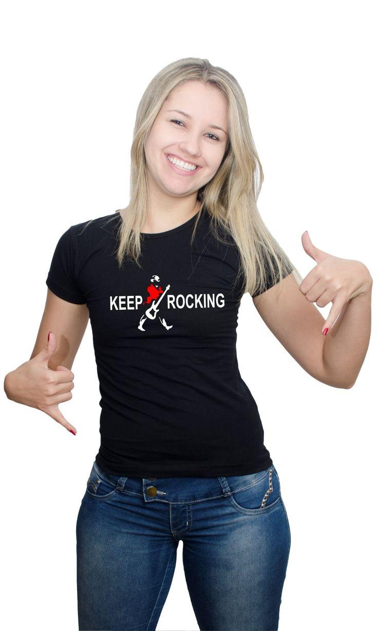Camiseta Keep Rocking. Visite nosso site e confira nossos modelos acesse já. www.halfcab.com.br