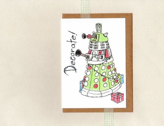 dalek DECORATE card . dr who christmas card . by ThePaisleyFive