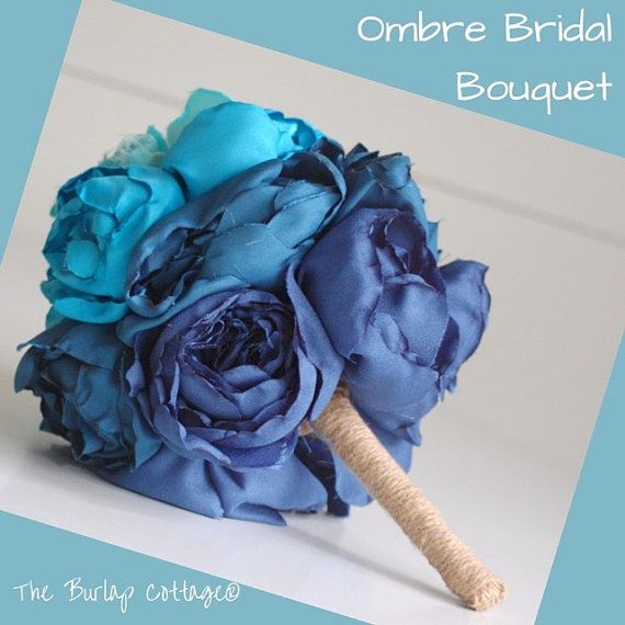 Blue Ombre alternative wedding bridal by TheBurlapCottage on Etsy