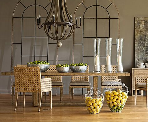 Leeward Rectangular Dining Table and Woven Arm and Side Chairs by John Black for Curate Home Collection.