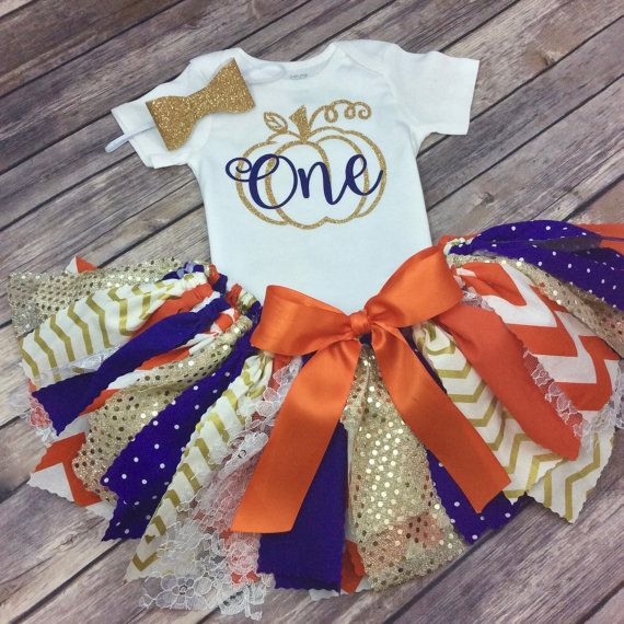Orange Purple and Gold Glitter Pumpkin Patch Birthday by CamiAndJo