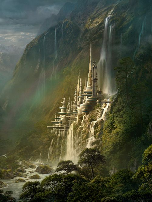 Enchanting waterfall castle.: