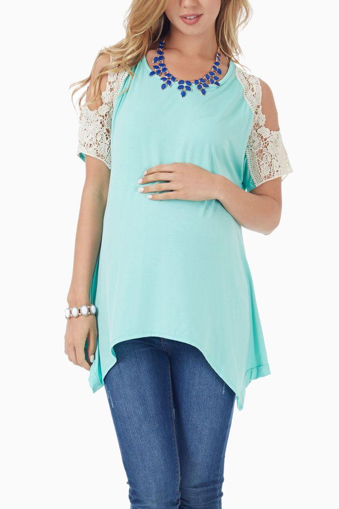 Mint-Green-Crochet-Open-Shoulder-Maternity-Top #maternity #style
