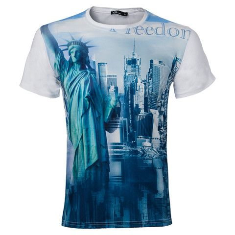"Ανδρικό T-shirt λευκό ""Freedom NY"" - So  http://brands4all.com.gr/collections/mens-t-shirt"