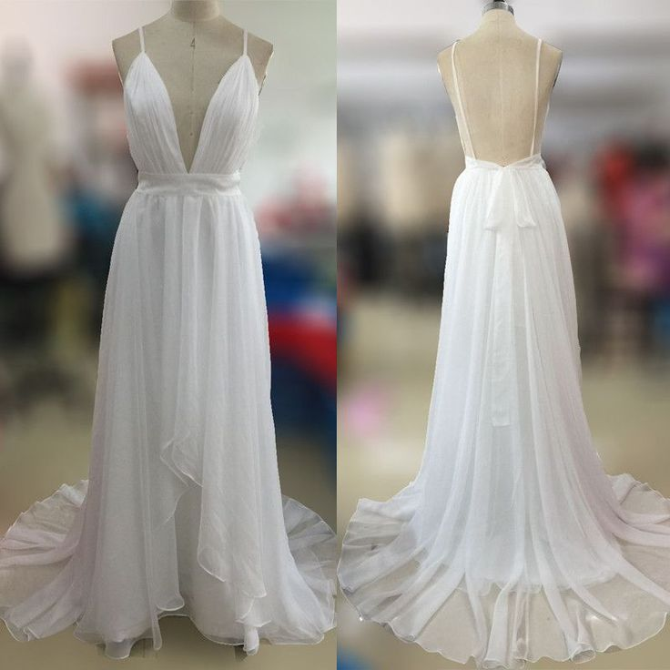 Affordable Simple Open Back White V Neck Beach Wedding Dresses, PM0606