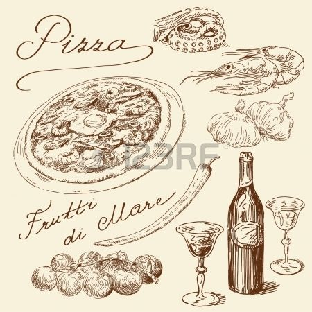 kézzel rajzolt pizza szett Stock fotó