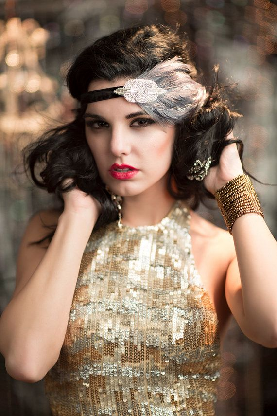 Black & Silver Great Gatsby 1920s Flapper Headband