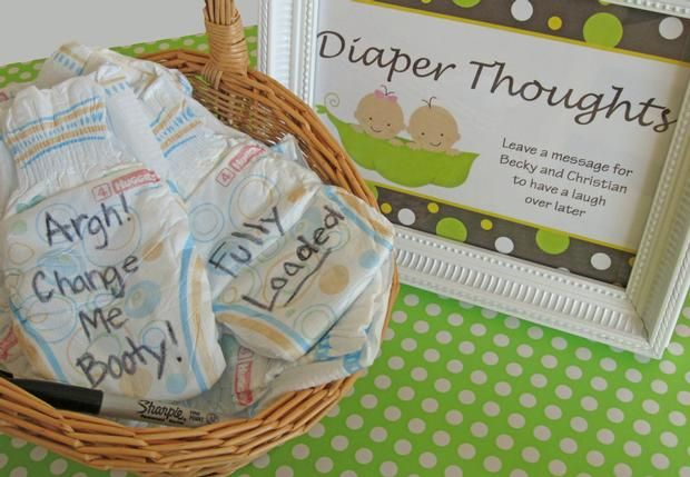 Cute Baby Shower idea- messages on diapers to laugh about later.