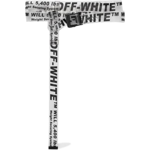 Off-White Printed rubber belt (7.851.850 VND) ❤ liked on Polyvore featuring accessories, belts, white, strap belt, clear belt, long belt, rubber belt and wrap belt