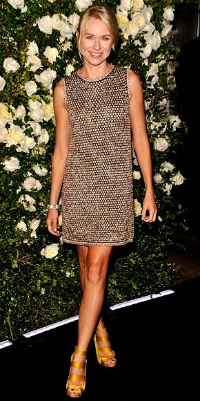 Naomi Watts dined at The Odeon for Chanel's Tribeca Film Festival bash in the label's tweed shift and satin Stella McCartney sandals.