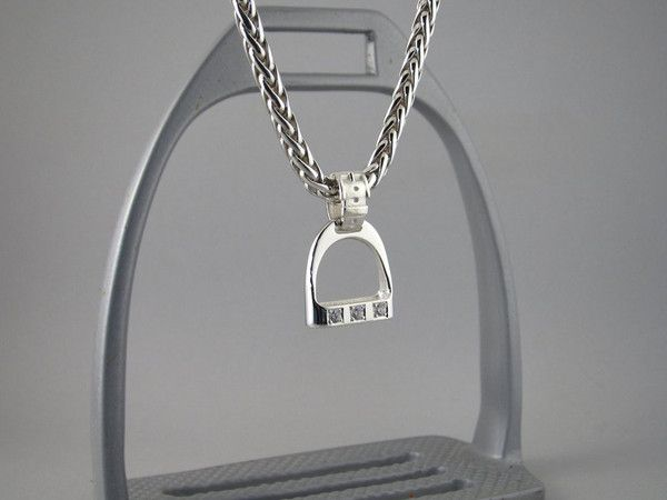 Large sterling silver wide bar with three cubic zirconias' stirrup pendant. 24 mm 3 x 3.0mm stones All necklaces are sold separately View Necklace Collection