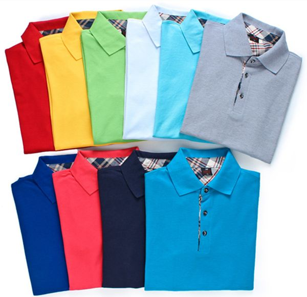 Men's Spring Summer Multicolor Turn-down Collar Solid Color Cotton Polo Shirts Sales on NewChic