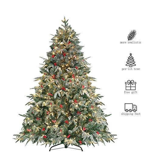 Homaker Pre Lit 6ft Artificial Christmas Tree Feel Real Snow Flocked Pe Tree 450 Clear Artificial Christmas Tree Christmas Tree 6ft Artificial Christmas Tree