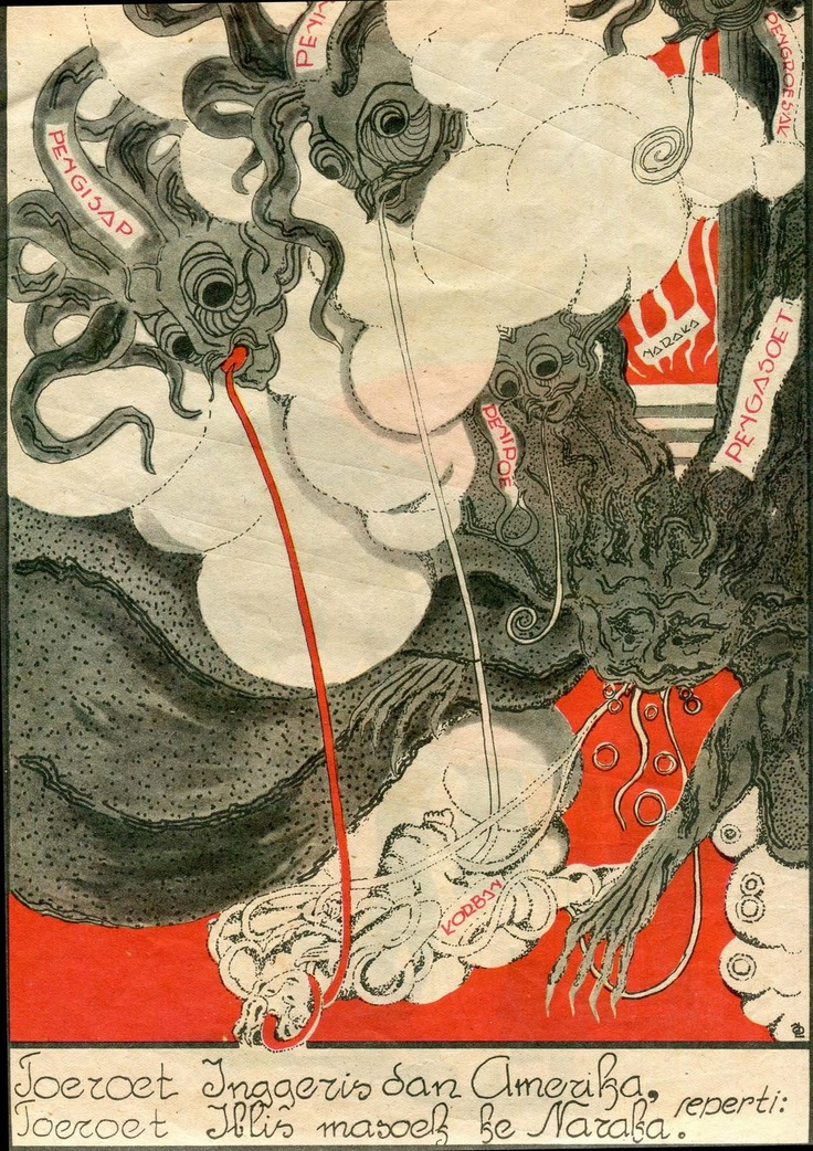 """Following the UK and the USA is like following evil going to hell"". Japanese propaganda poster in Indonesia. C. 1942-1945"