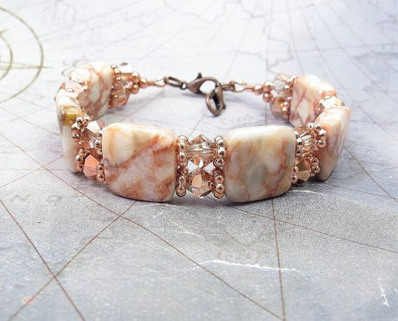YOUR CHOICE: Regular Bracelet OR Medical ID Bracelet OR Interchangeable Watch Band A gorgeous addition to your jewelry collection, I made this stunning bracelet with 14mm double drilled Redline Marble stones, 6mm bicone copper crystal glass beads and copper tone spacers. This bracelet is