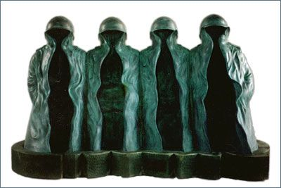 Nyoman Nuarta 'The gang of four' 1978. Explore the elements of this piece, its form and color. Do you think Nuarta is using metaphor to convey a message? What is the message of this sculpture?