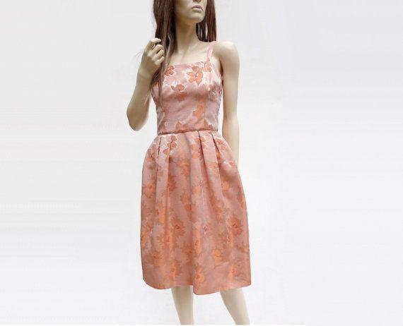 60s Apricot Dress, Vintage Party Dress, 1960s Damask Dress, Coral Summer Dress, Spaghetti Strap, Full Skirt Dress, 60s Cocktail Dress, xs