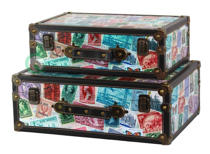 World Stamp Travel Suitcase