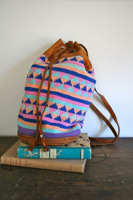 vintage woven backpack  PASTEL crochet and leather by MsTips, $29.00