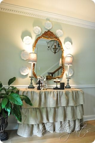 ruffled entry table - burlap or drop cloth dixiedelights.blogspot.com
