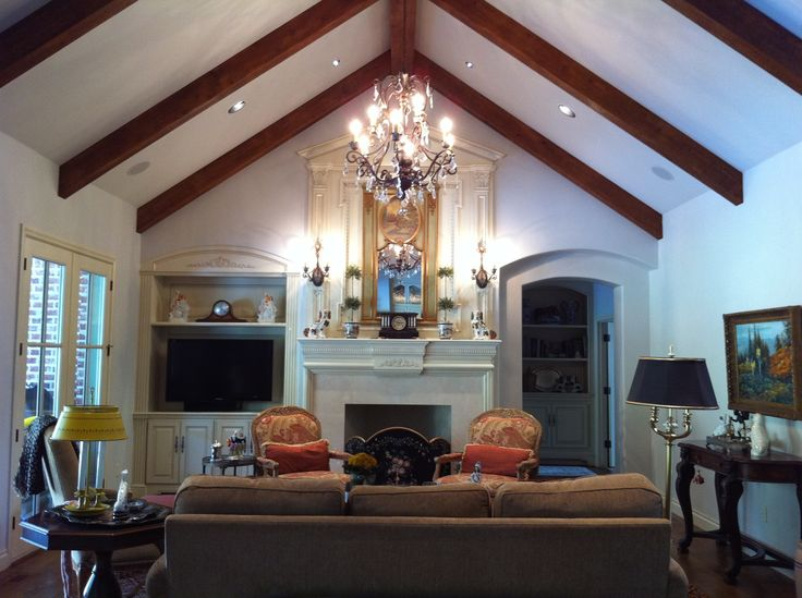 Great Room With Cathedral Ceiling Rake Beams