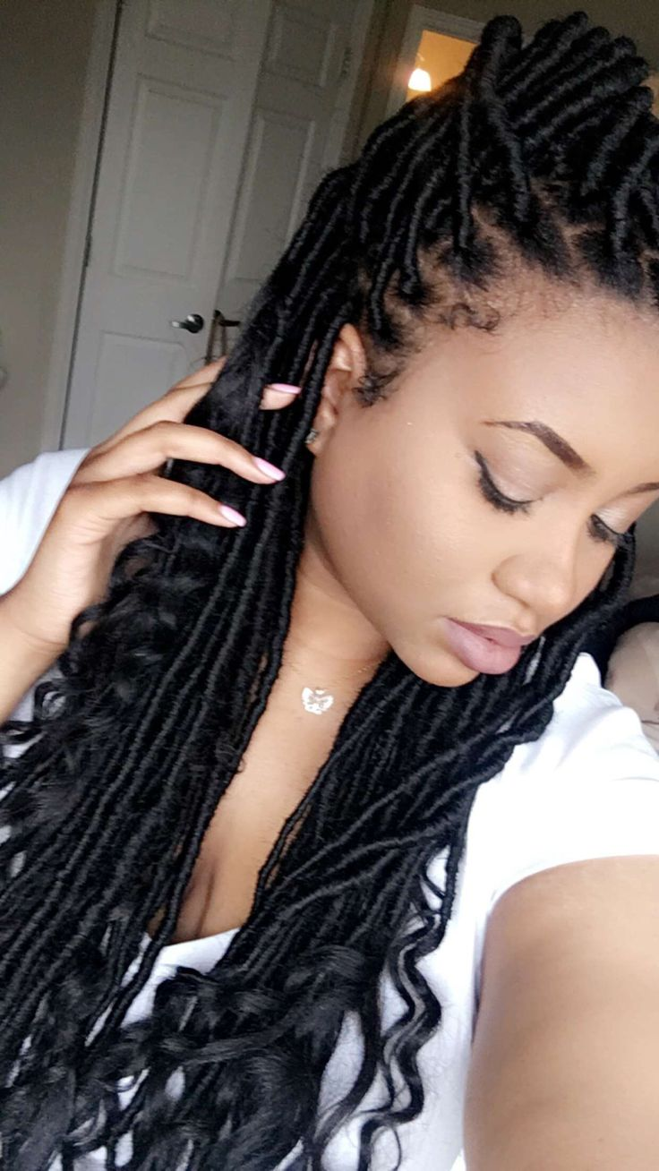 Goddess faux locs faux locs natural braids hair protective style Instagram soeverelegant_erica Marley hair