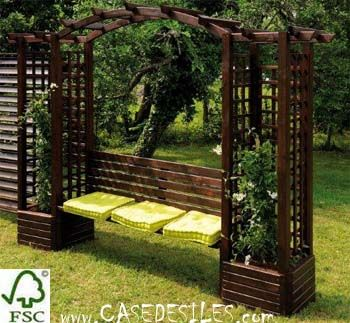 pergola bois double avec banc et jardini res pas cher maison et jardin pinterest pergola. Black Bedroom Furniture Sets. Home Design Ideas