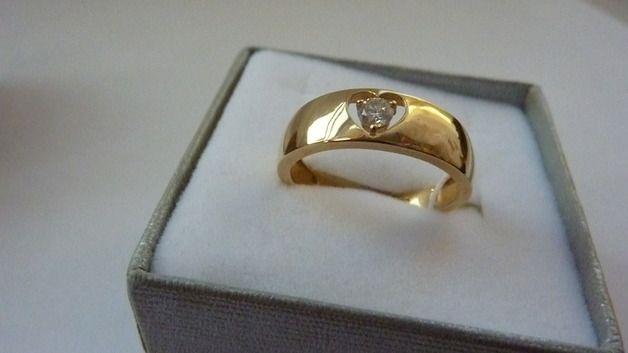 PIERŚCIONEK Z DIAMENTEM 0,12 CT ZŁOTO 14 K - szlachetne-precjoza - Pierścionki złote