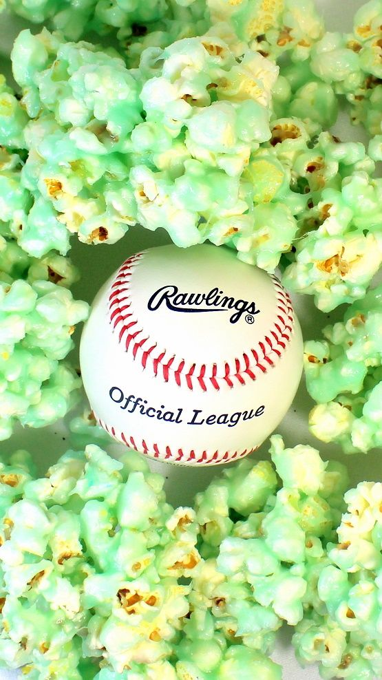 BASEBALL FEVER KC ROYALS Blue Flavored Popcorn Balls - 52 Snacks for Children's Church or for ANY TAILGATING treat.  EASY to change colors for any sports team, pro, college or T-Ball  but of course, GO ROYALS!