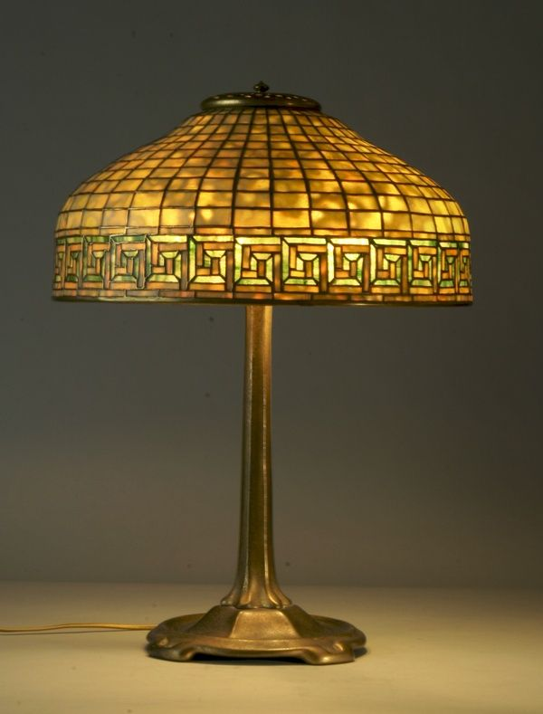 Antique Tiffany Glass Lamps | Period Tiffany Studios Greek Key Leaded  Dichroic Glass Lampshade On .