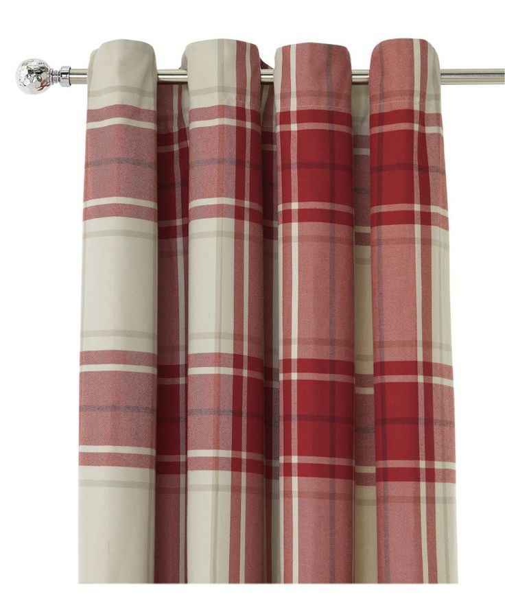 Buy Heart of House Angus Lined Eyelet Curtains 168x228cm - Red at Argos.co.uk - Your Online Shop for Curtains.