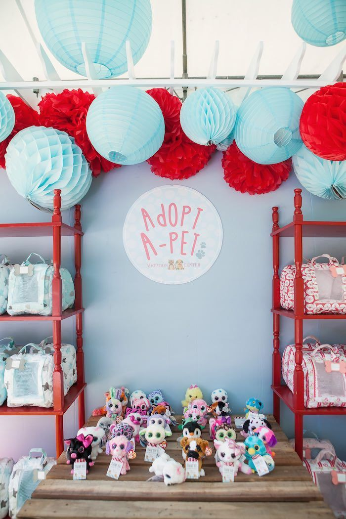 Pet adoption booth from a Beanie Boos Pet Adoption Themed Birthday Party