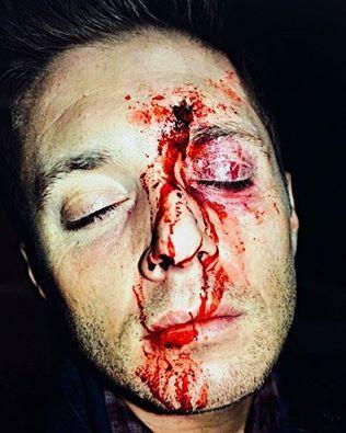 Zabrina a maquiadora de Supernatural, postou essa foto da maquiagem feita no Jensen, em que o Dean aparece na visão do Bobby no episodio 11x16.
