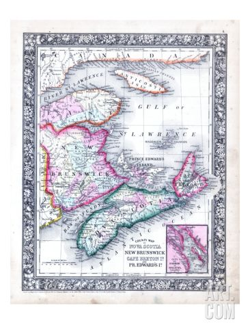 1864, Canada, New Brunswick, Nova Scotia, Prince Edward Island, North America, Nova Scotia Giclee Print at Art.com