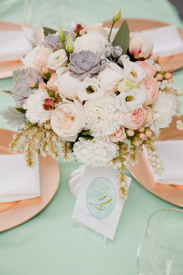 Pale peach, white, and dusty miller