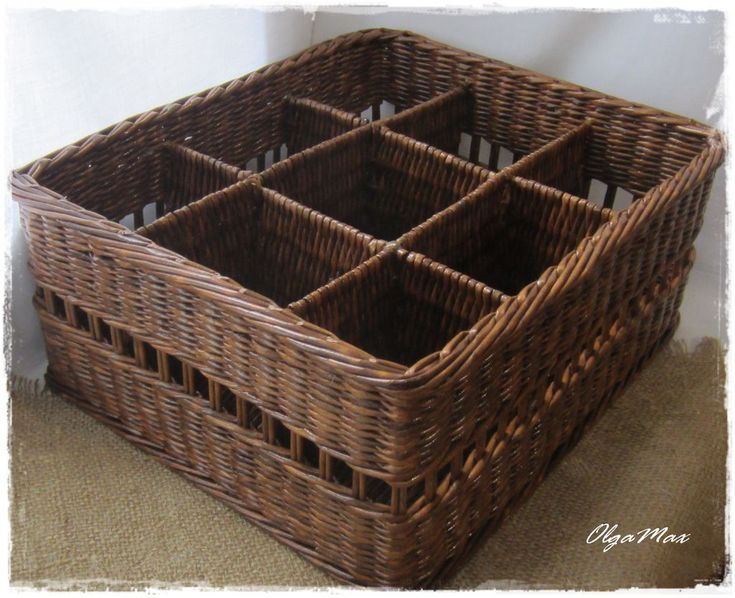 Купить Плетеная корзина с перегородками - коричневый, цвет натуральной лозы, плетение из бумажной лозы