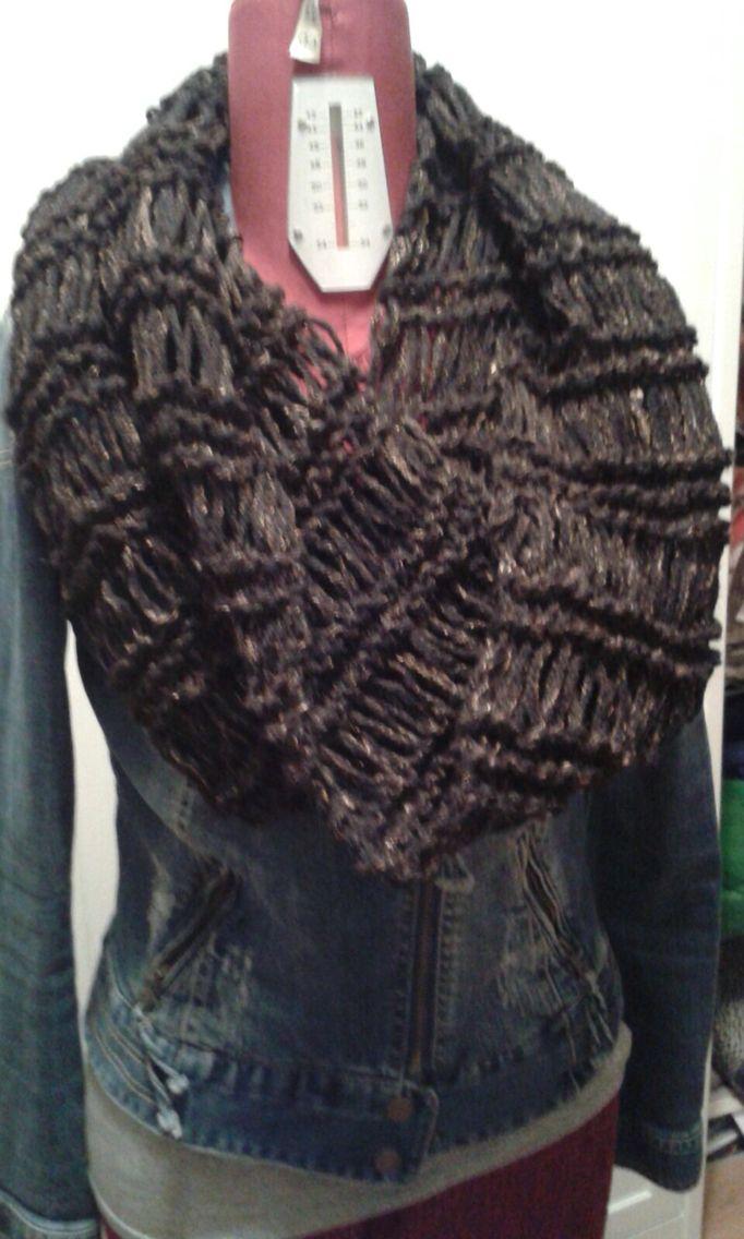 Sciarpa scaldacollo lana nera e rame