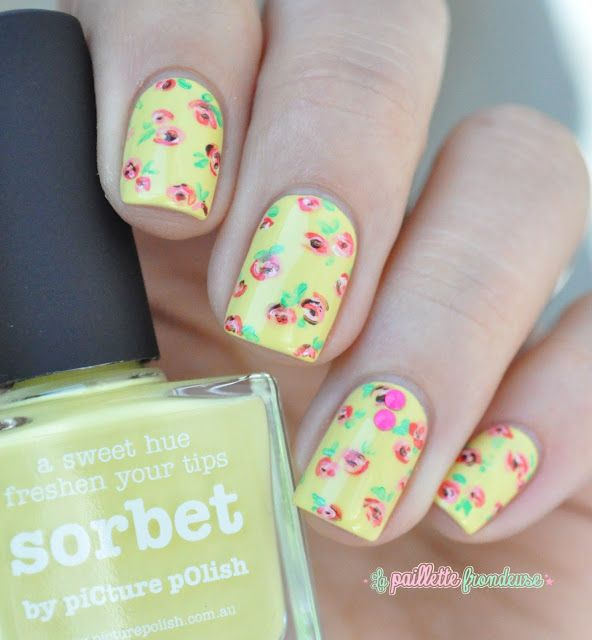 Paint All The Nails Does Floral - romantic roses nail art over bright yellow nails - picture polish sorbet - http://lapaillettefrondeuse.blogspot.be/2015/07/paint-all-nails-does-floral.html