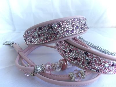 Completed Swarovski Crystal Dog Collars with matching Beaded leads