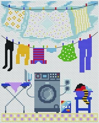 laundry cross-stitch pattern