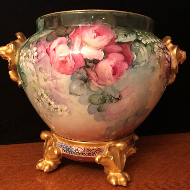 242 Limoges Lions Head Jardiniere with Plinth Signed – Wild Scarlet Rose