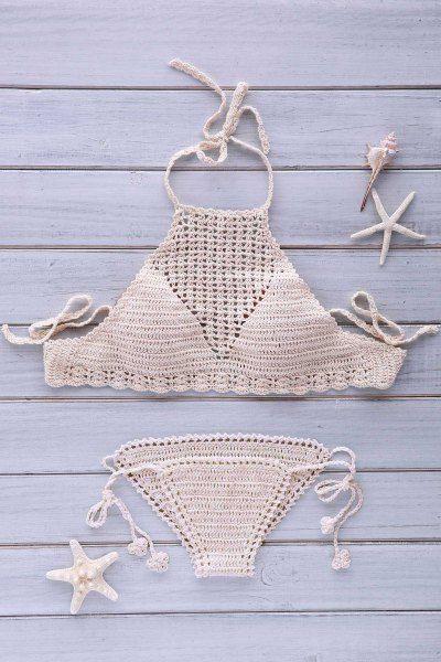 Mesh Halter Crochet Bikini Set APRICOT: Bikinis | ZAFUL