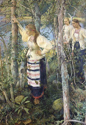 Pekka Halonen, Neiet niemien nenissä, yksityiskokoelma