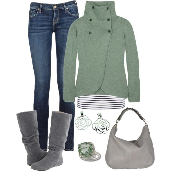 cute: Green Sweaters, Green And Gray, Color, Cute Sweaters, Winter Looks, Gray Boots, Winter Outfits, Casual Outfits, Grey Boots